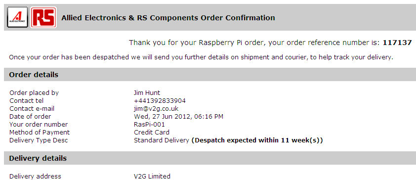 The V2G RasPi from RS is due in three months or so