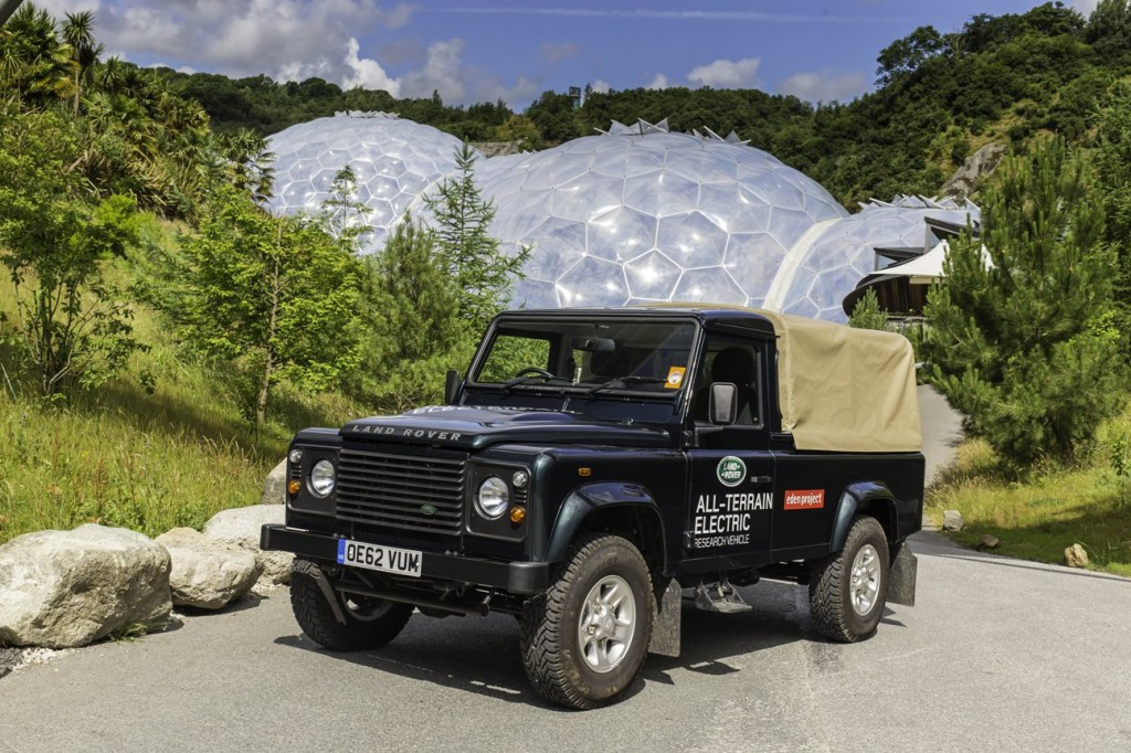An Electric Land Rover Defender poses for a picture at the Eden Project
