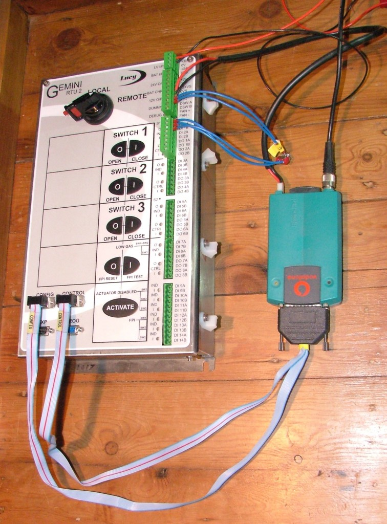 A Lucy Switchgear Gemini Remote Terminal Unit plus PakNet PAD