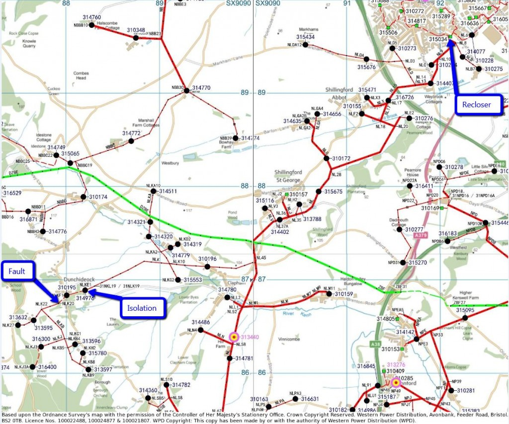 WPD map of 11 kV and 33 kV cables Southwest of Exeter
