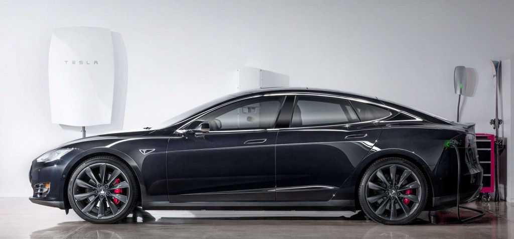 Tesla Energy reveals a Model S in close proximity to a Powerwall