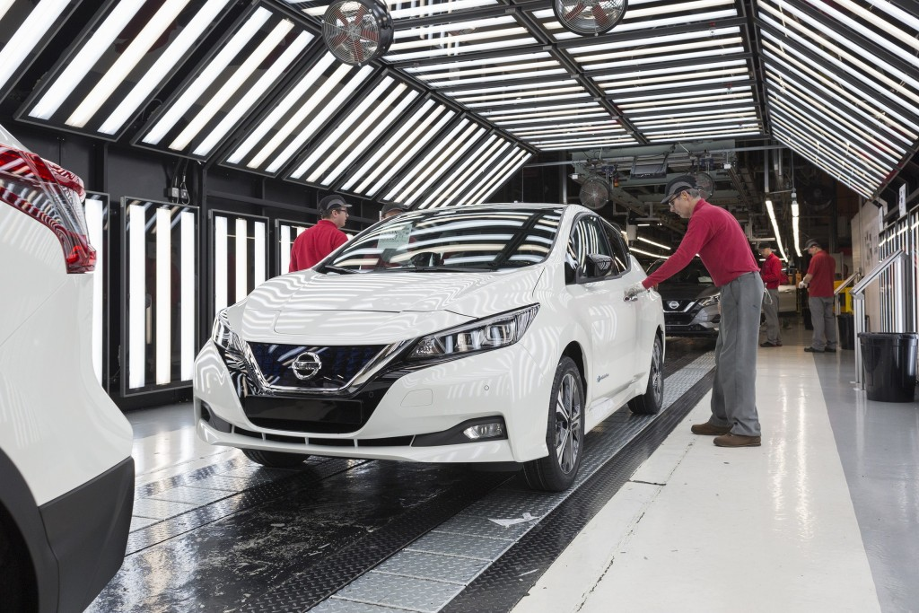 The 2018 Nissan LEAF production line in Sunderland